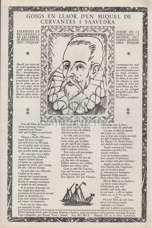 Goigs en llaor d'en Miquel de Cervantes i Saavedra