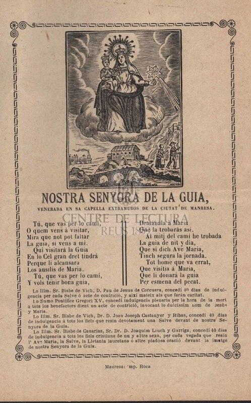 Nostra Senyora de la Guia venerada en sa capella extramuros de la ciutat de Manresa.