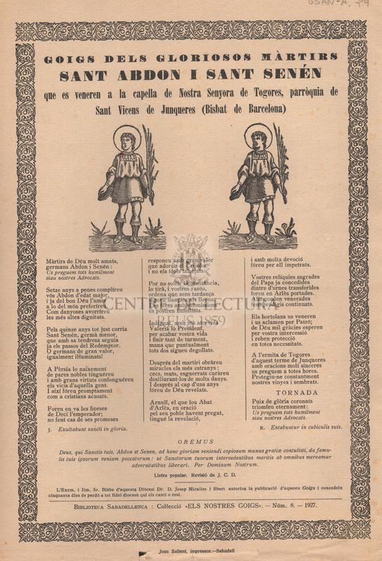 Goigs dels gloriosos màrtirs Sant Abdon i Sant Senén que es veneren a la capella de Nostra Senyora de Togores, parròquia de Sant Vicens de Junqueres (Bisbat de Barcelona).