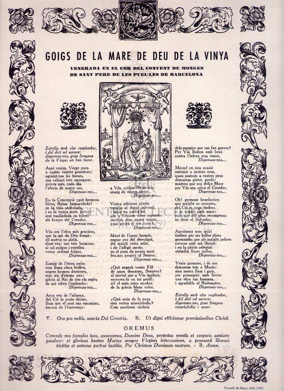 Goigs de la Mare de Déu de la Vinya venerada en el cor del Convent de Monges de Sant Pere de les Puel·les de Barcelona