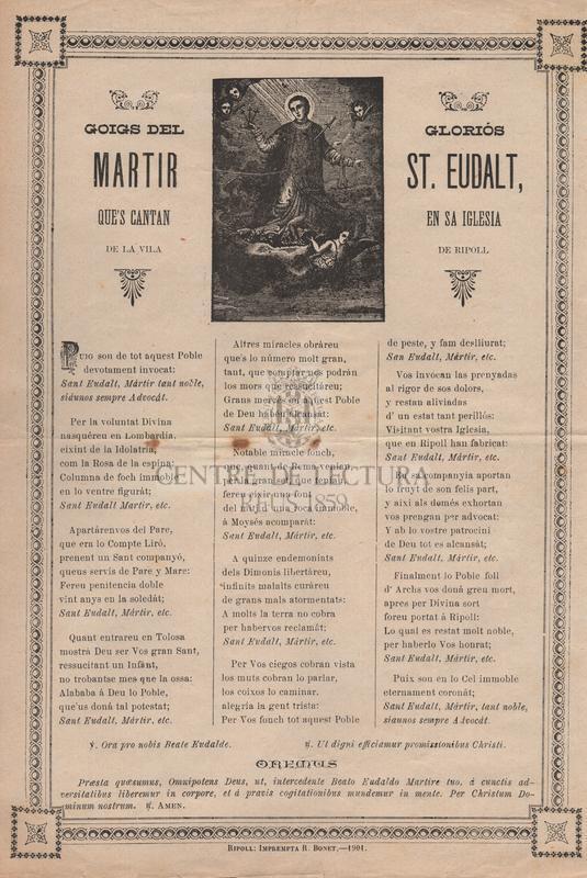 Goigs a llaor del gloriós martir St. Eudalt, que's cantan en sa iglesia de la vila de Ripoll