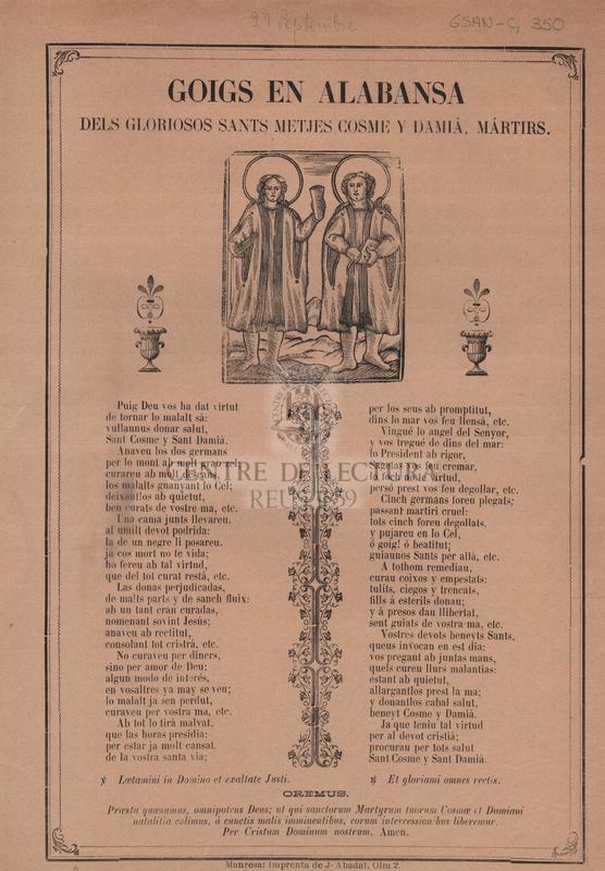 Goigs en alabansa dels gloriosos Sants metjes Cosme y Damiá, Mártirs