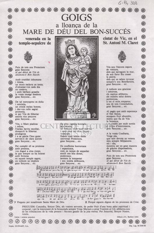 Goigs a lloança de la Mare de Déu del Bon-Succés, venerada en la ciutat de Vic, en el temple-sepulcre de St.  Antoni M. Claret