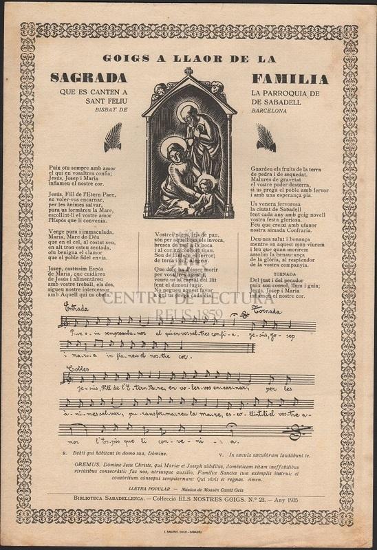 Goigs a  llaor de la Sagrada Família que es canten a la Parroquia de Sant Feliu de Sabadell Bisbat de Barcelona
