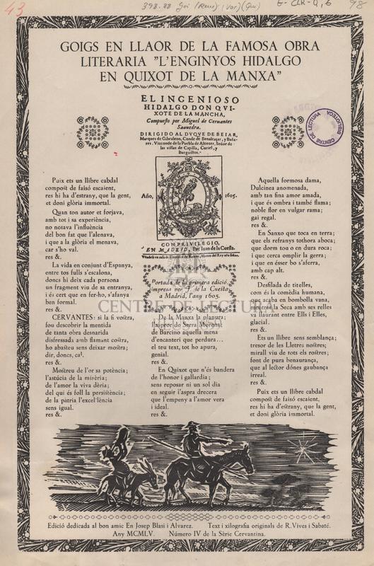 """Goigs en llaor de la famosa obra literaria """"L'enginyos hidalgo en Quixot de la Manxa""""."""