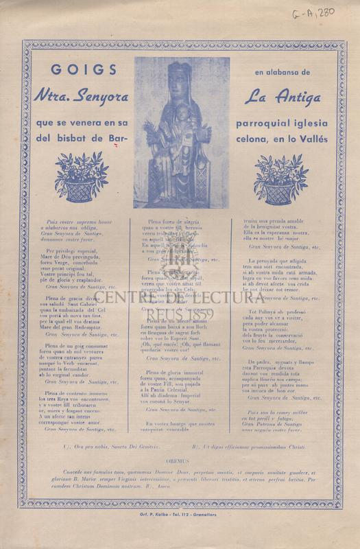 Goigs en alabansa de Ntra. Senyora la Antiga, que se venera en sa parroquial iglesia del bisbat de Barcelona, en lo Vallés