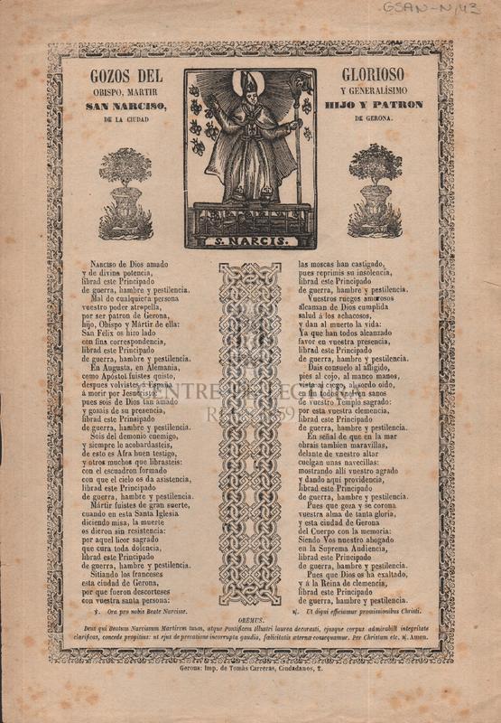 Gozos del glorioso obispo, martir y generalísimo San Narciso, hijo y patron de la ciudad de Gerona