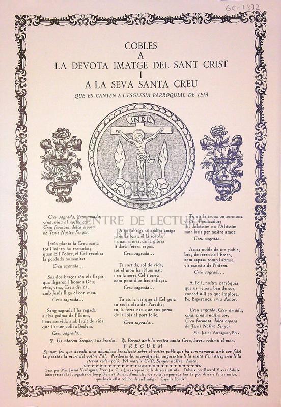 Cobes a la devota imatge del Sant Crist a la seva Santa Creu que es canten a l'esglesia parroquial de Teià