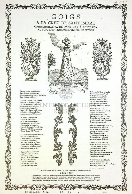 Goigs a la creu de Sant Isidre commemorativa de l'any Marià, edificada al puig d'en Boronet, terme de Sitges