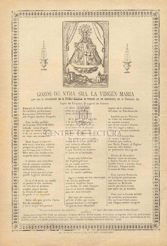 Gozos de Ntra. Sra. la Virgen María que con la invocación de la Fuen-María se venera en su Santuario en el Término del lugar de Landete, Obispado de Cuenca