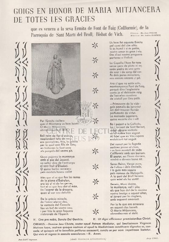 Goigs en honor de Maria Mitjancera de totes les Gràcies que es venera en la seva Ermita de Font de Faig (Collformic), de la Parròquia de Sant Martí  del Brull, Bisbat de Vich.