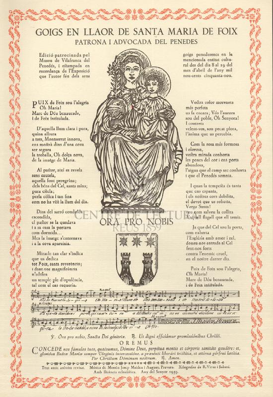 Goigs en llaor de Santa Maria de Foix patrona i advocada del Penedés