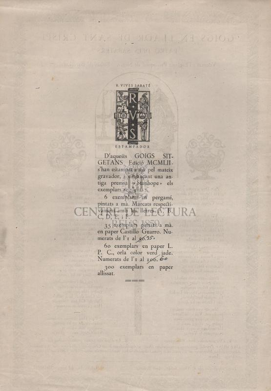 Goigs en llaor de Sant Crispí patró dels Sabaters. Venerat a l'Església Parroquial de Sitges. Bisbat de Barcelona