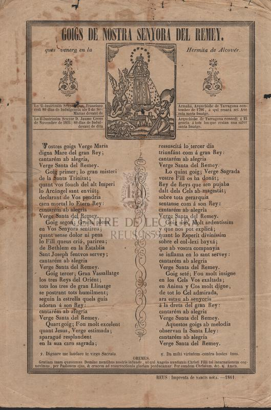 Goigs de Nostra Senyora del Remey. Hermita de Alcovér