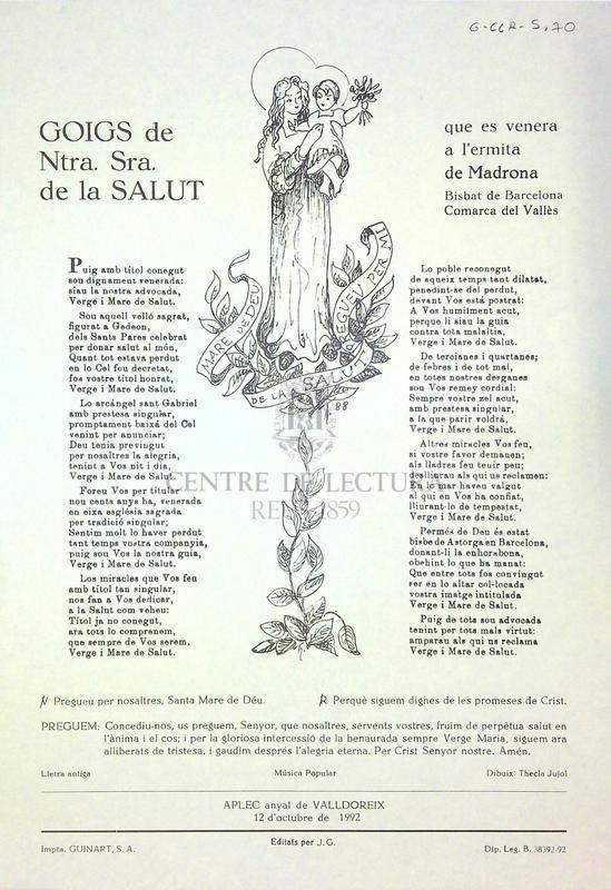 Goigs de Ntra. Sra. de la Salut que es venera a l'ermita de Madrona Bisbat de Barcelona comarca del Vallès