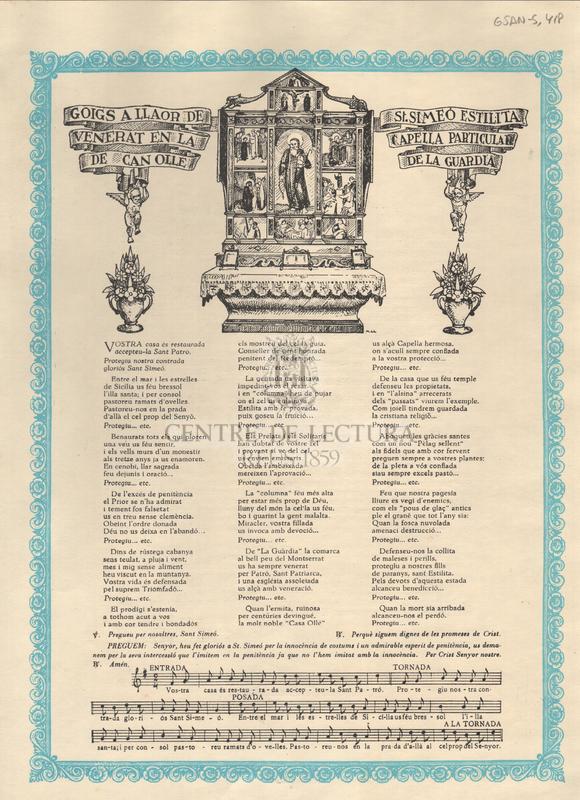Goigs a llaor de St. Simeó estilita venerat en la capella particular de Can Olle de la Guardia