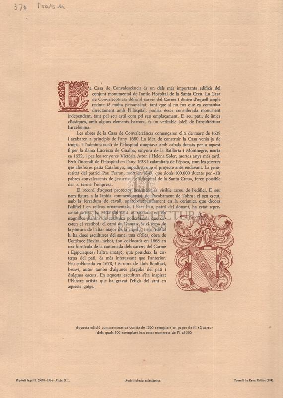 Goigs a llaor de Sant Paul, Apòstol que es venera a la Capella de l'Antiga casa de convalescència avui de la Biblioteca Central de la Diputació Provincial de Barcelona