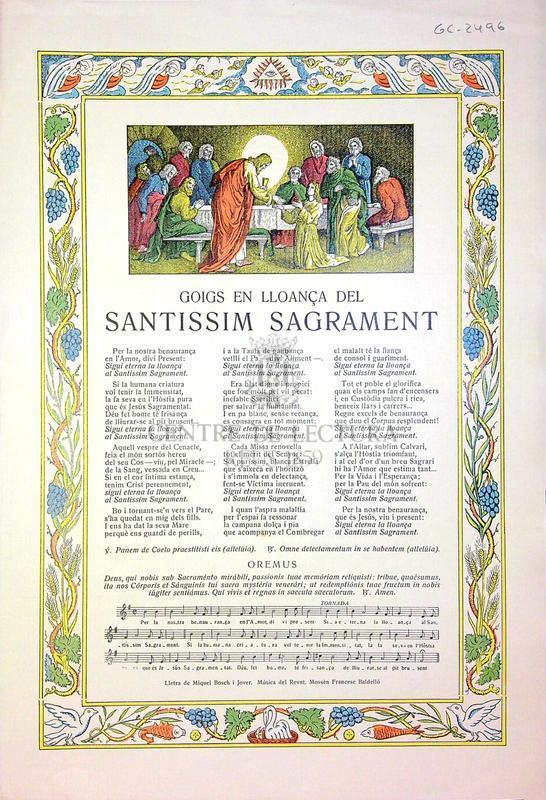 Goigs en lloança del Santissim Sagrament