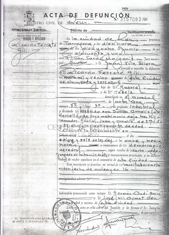 Certificat de defunció de Ricard Ferraté Gili, pare de Gabriel Ferrater