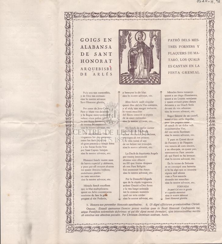 Goigs en alabansa del Sant Honorat, Arquebisbe de Arlés. Patró dels mestres forners y flaquers de Mataró, los quals es canten en la festa gremial