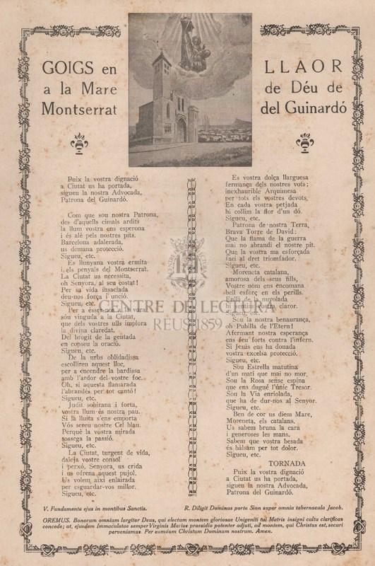 Goigs en llaor de la Mare de Déu de Montserrat del Guinardó.