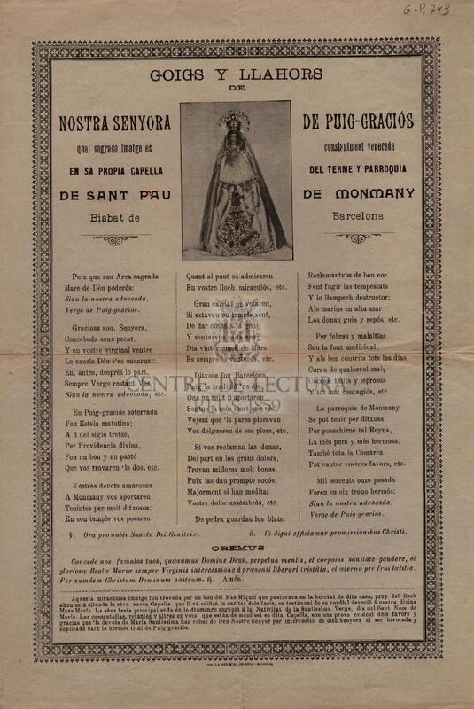Goigs y llahors de Nostra Senyora de Puig-Graciós, cual sagrada imatge es constantment venerada en sa propia capella del terme y parroquia de san Pau de Monmany, Bisbat de Barcelona.