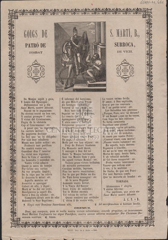 Goigs de S. Martí, B., Patró de Surroca, Bisbat de Vich