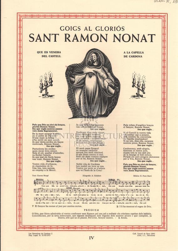 Goigs al gloriós Sant Ramon Nonat. Que es venera a la Capella del Castell de Cardona