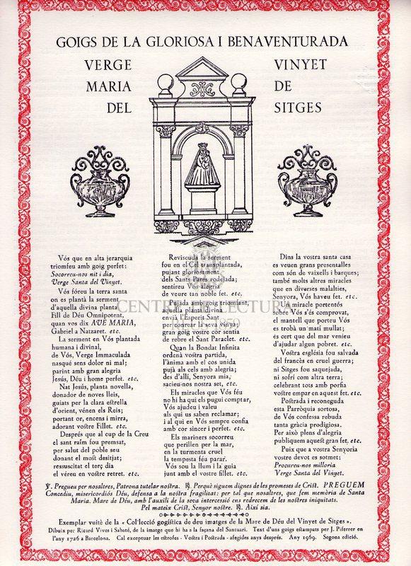 Goigs de la gloriosa i benaventurada Verge Maria del Vinyet