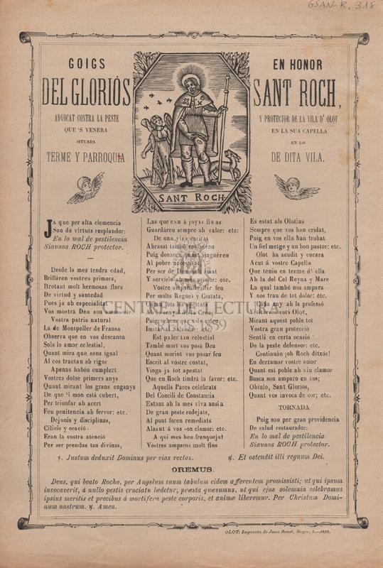 Goigs en honor del gloriós Sant Roch, advocat contra la peste y protector de la vila d'Olot que's venera en la sua capella situada en lo terme y parroquia de dita vila
