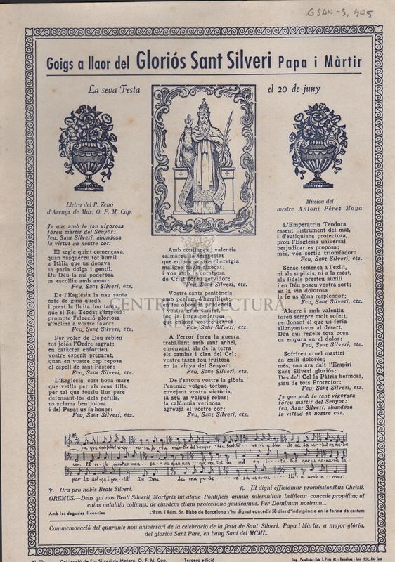 Goigs a llaor del Gloriós Sant Silveri papa i màrtir