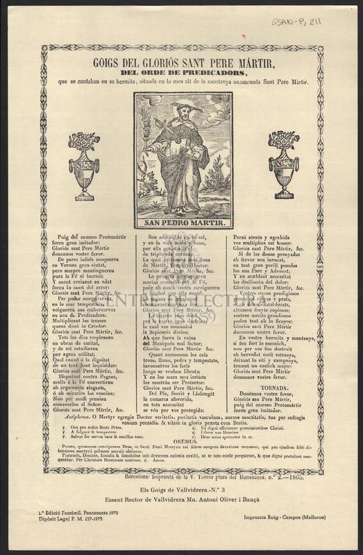 Goigs del gloriós Sant Pere Mártir del ordre de predicadors que se cantaban en sa hermita, situada en lo mes alt de la montanya anomenada Sant Pere Mártir