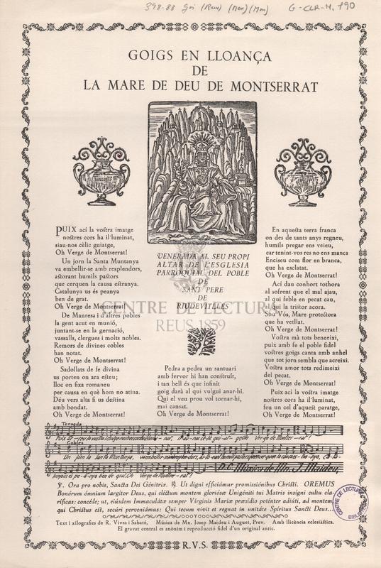 Goigs en lloança de la Mare de Deu de Montserrat venerada al seu propi altar de l'esglesia parroquial del poble de Sant Pere de Riudevitlles.