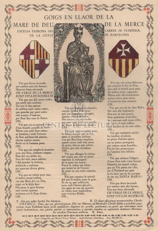 Goigs en llaor de la Mare de Déu de la Mercè excelsa patrona del carrer de Petritxol de la ciutat de Barcelona.