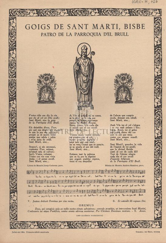 Goigs de Sant Marti, Bisbe. Patro de la Parroquia d'El Brull