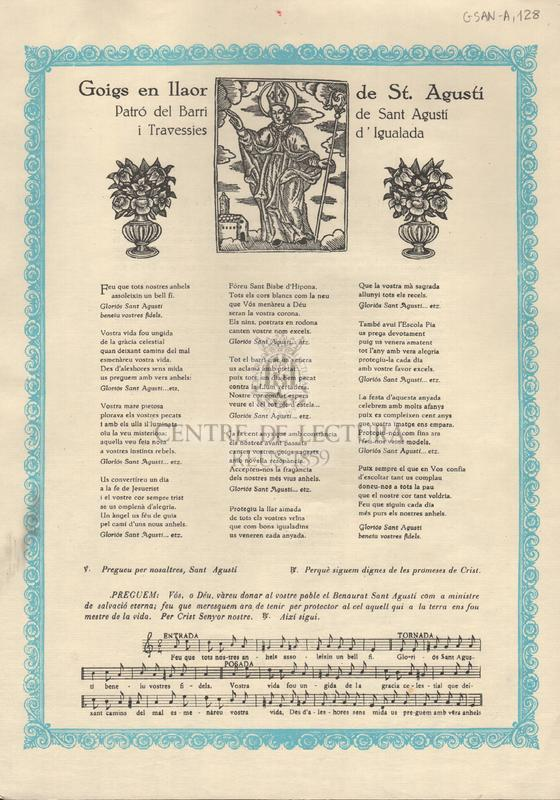 Goigs en llaor de St. Agustí Patró del Barri de Sant Agustí i Travessies d'Igualada