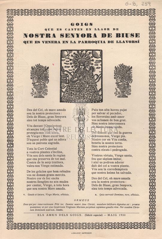 Goigs que es canten en llaor de Nostra Senyora de Biuse que es venera en la Parroquia de Llavorsí
