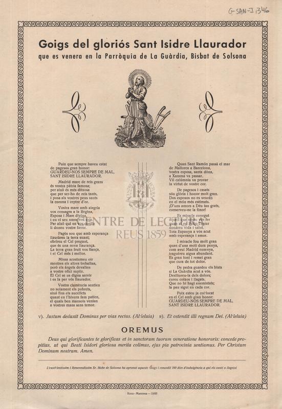 Goigs del gloriós Sant Isidre Llaurador que es venera en la Parròquia de La Guàrdia, Bisbat de Solsona