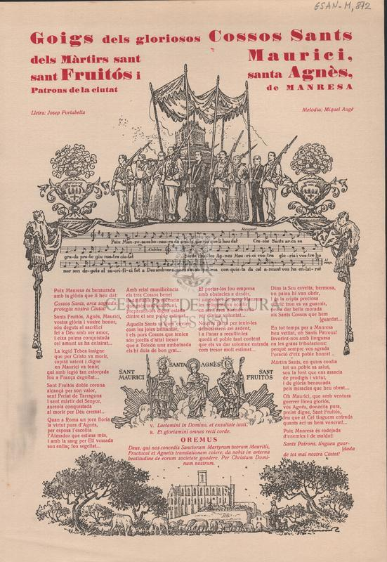 Goigs dels gloriosos Cossos Sants dels Màrtirs sant Maurici, sant Fruitós i santa Agnès, Patrons de la ciutat de Manresa