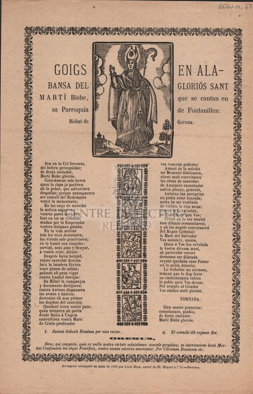 Goigs en alabansa del gloriós Sant Martí Bisbe, que se cantan en sa Parroquia de Fontanilles: Bisbat de Gerona