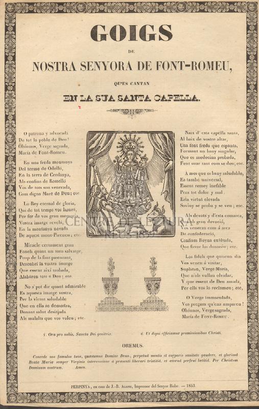Goigs de Nostra Senyora de Font-Romeu, que's cantan en la sua santa Capella
