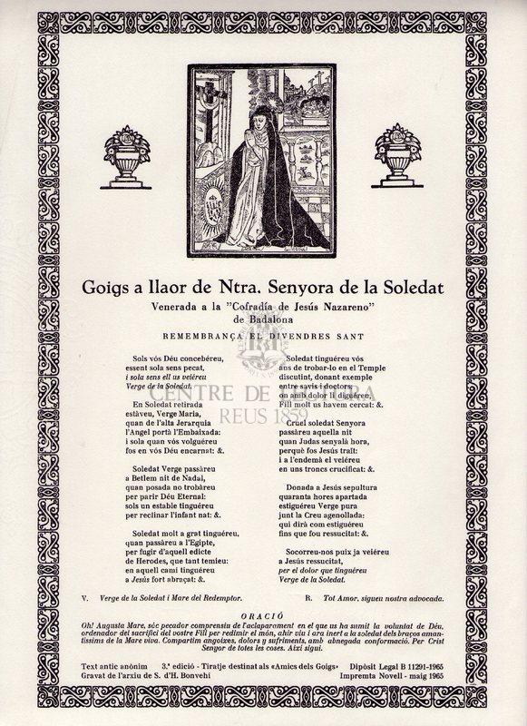 "Goigs a llaor de Ntra. Senyora de la Soledat venerada a la ""Cofraria de Jesús Nazareno"" de Badalona"