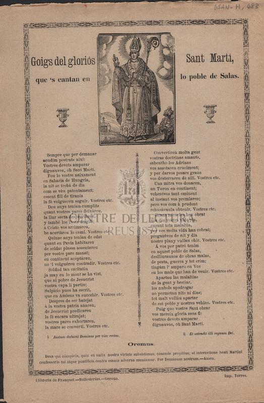 Goigs del gloriós Sant Martí, que's cantan en lo poble de Salas