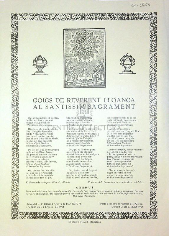 Goigs de reverent lloança al santissim sagrament