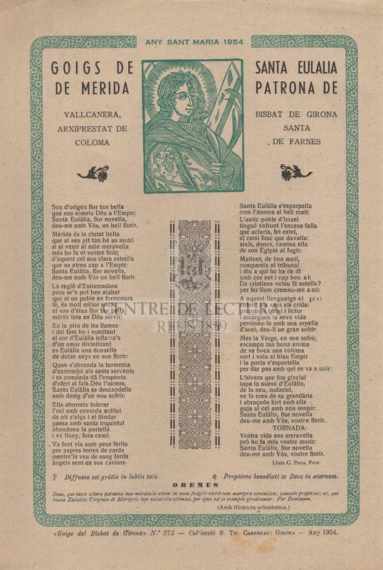 Goigs de Santa Eulalia de Merida, patrona de Vallcanera, bisbat de Girona, Arxiprestat de Santa Coloma de Farnes
