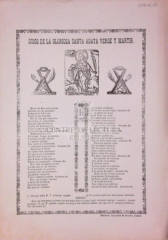 Goigs de la gloriosa santa Agata verge y martir