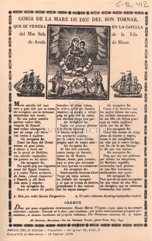 Goigs de la Mare de Deu del Bon Tornar, que se venera en la capella del Mas Sala de la Vila de Areñs de Munt