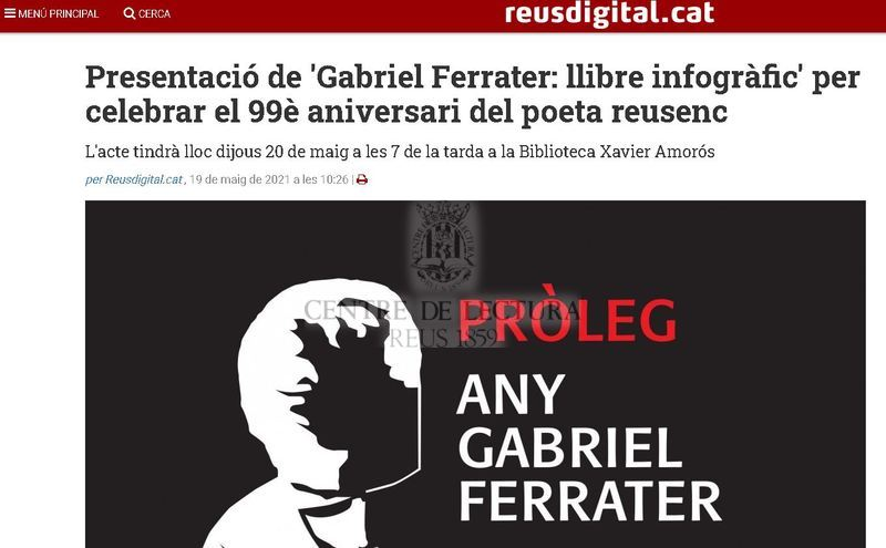 Presentació de 'Gabriel Ferrater: llibre infogràfic' per celebrar el 99è aniversari del poeta reusenc