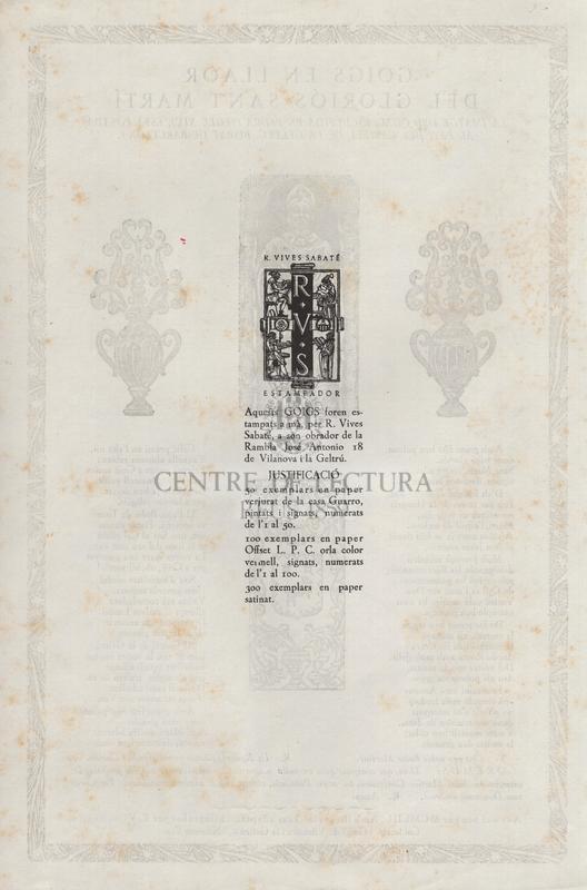 Goigs en llaor del gloriós Sant Martí. La imatge del qual esculpida en pedra (segle XIV), està posada al pati del castell de la Geltrú. Bisbat de Barcelona