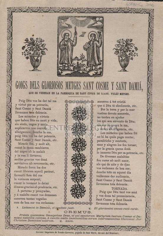 Goigs dels gloriosos metges Sant Cosem y Sant Damiá, que se veneran en la parroquia de Sant Cipriá de Lladó, vulgo metges